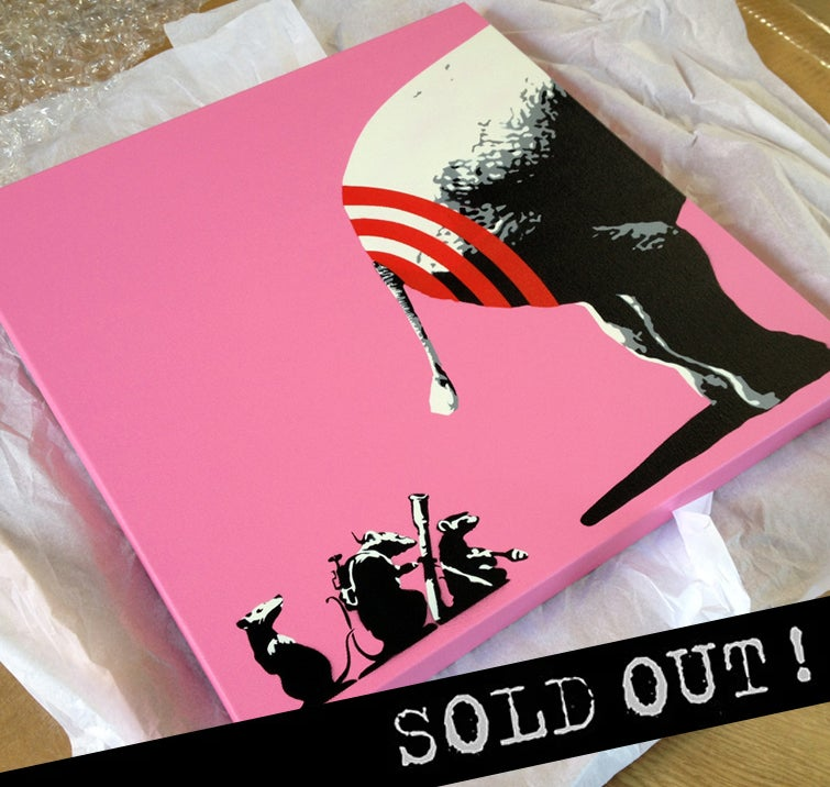 "Image of ""BUTT HURT"" PINK (2014) ORIGINAL STENCIL ON CANVAS"