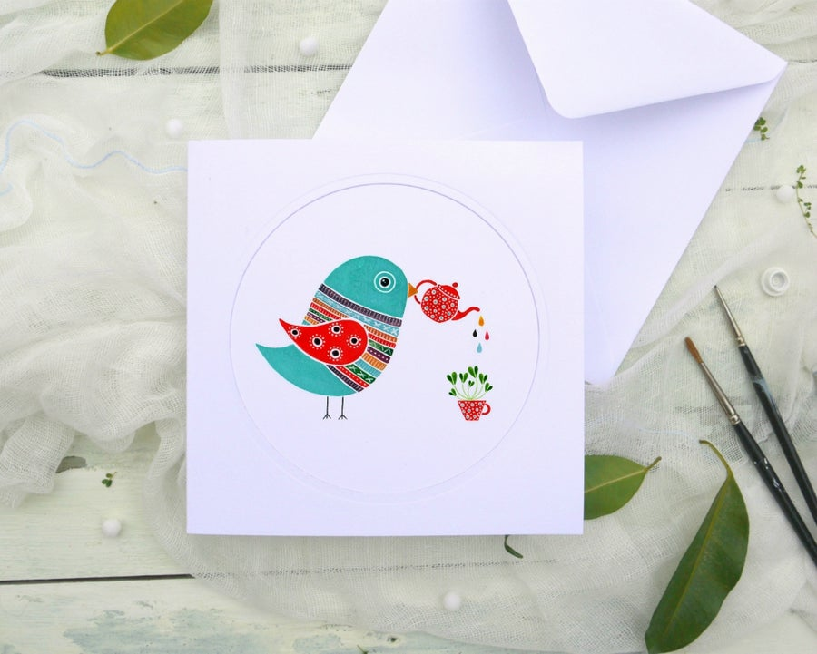 Image of Happy bird - illustrated greeting card
