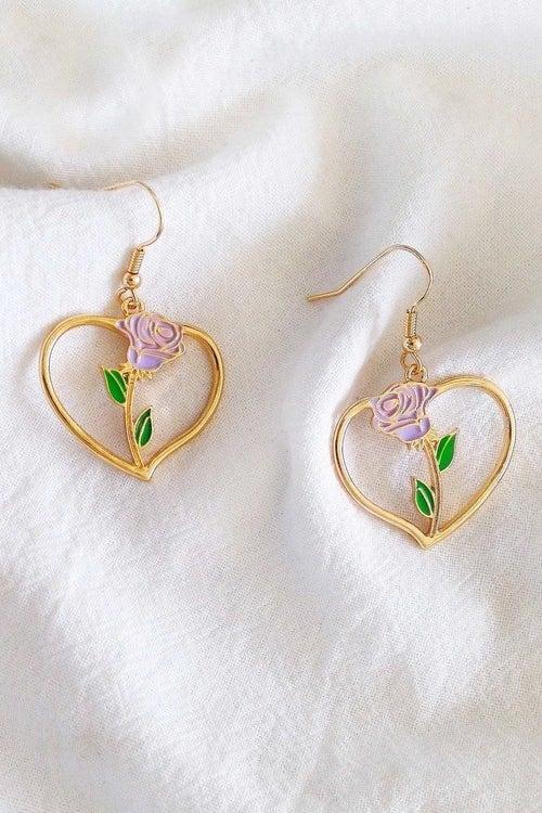 Image of ROSE HEART EARRINGS