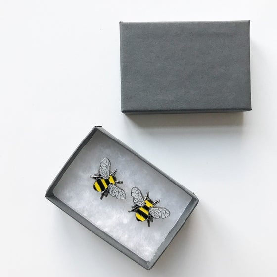 Image of Manchester Bee Cuff Link Set Beekeeping