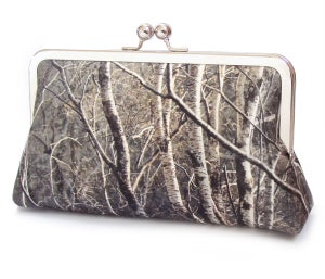Silver birch trees clutch purse, silk handbag - Red Ruby Rose
