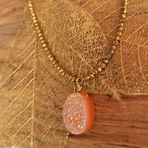 Image of Effervescent Orange Sherbert Druzy Necklace - Gold
