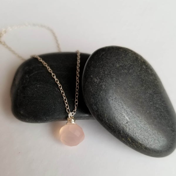 Image of Simple Pink Chalcedony Necklace
