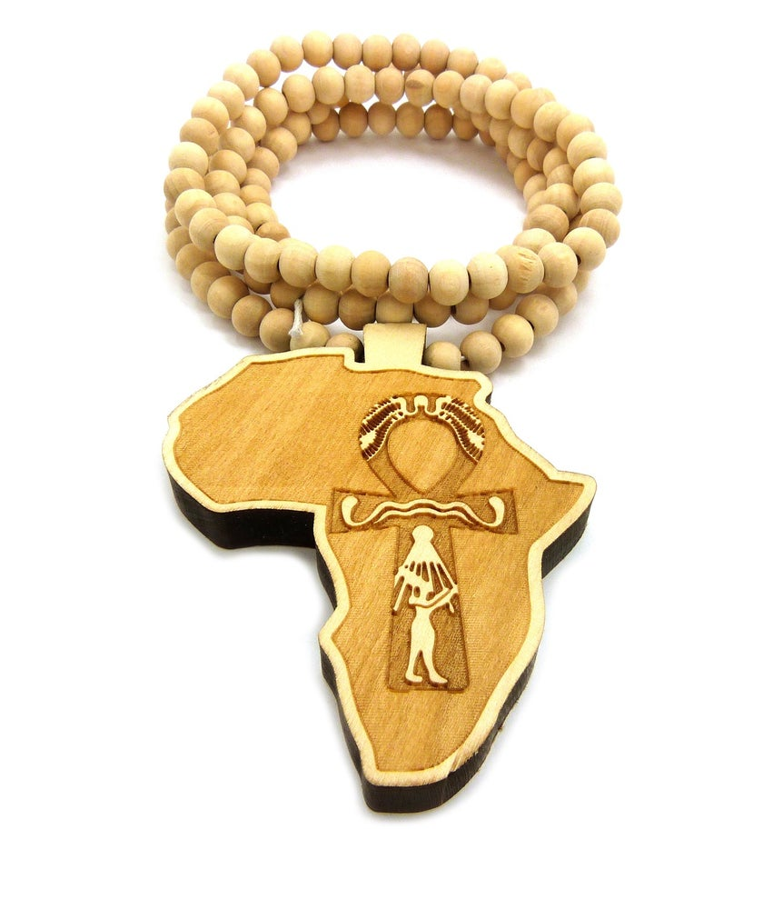 Image of CARAMEL AFRICAN AHNK WOOD w/ BEADS