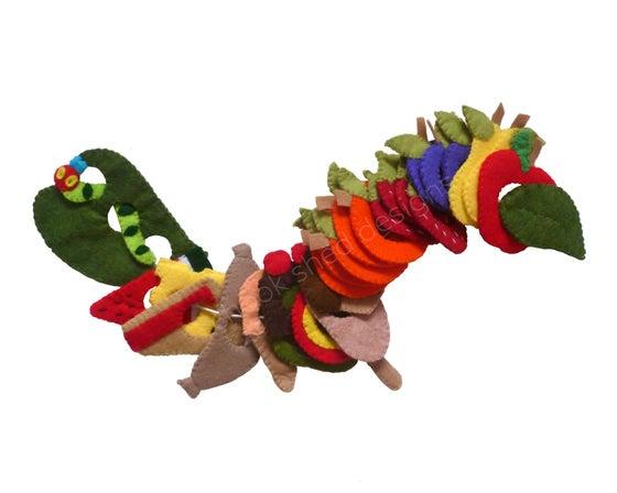 Image of Handmade 'What Do Caterpillars Eat?' Threading Game