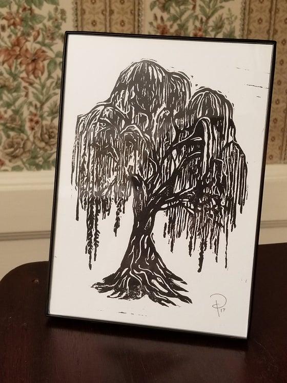 Image of Willow Tree - Original Linoleum Cut Framed Art Print