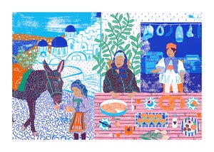 Image of Breakfast in Santorini Print