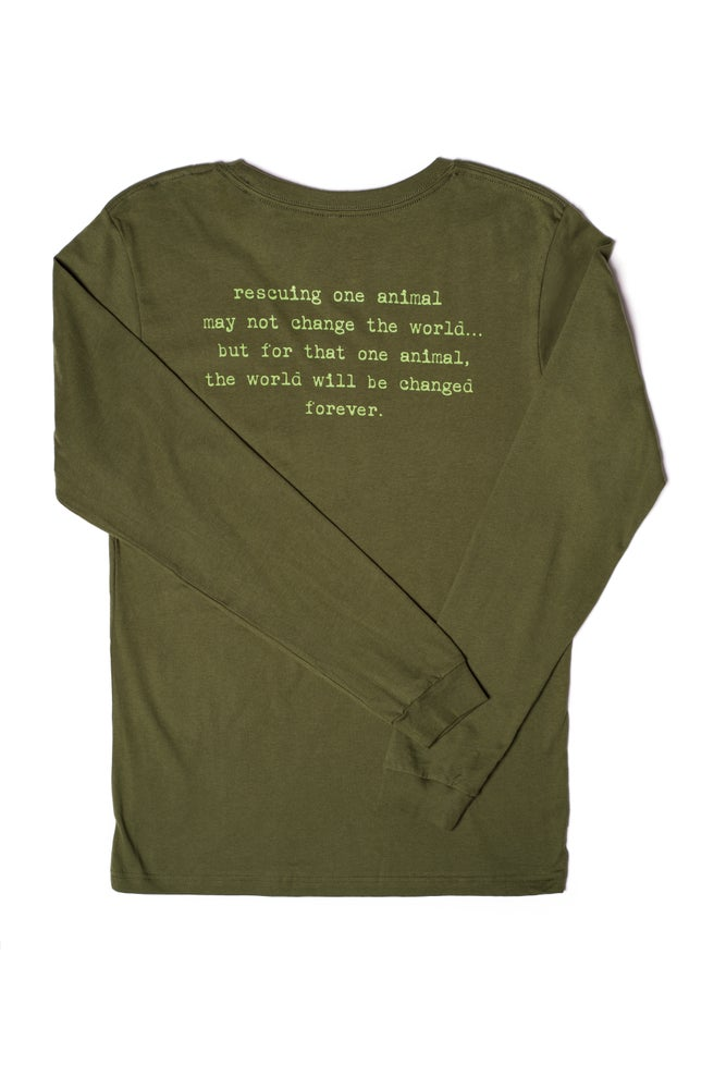 Image of olive long sleeve tiny tim tee-unisex sizing