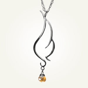 Image of Phoenix Wing Necklace with Orange Topaz, Sterling Silver