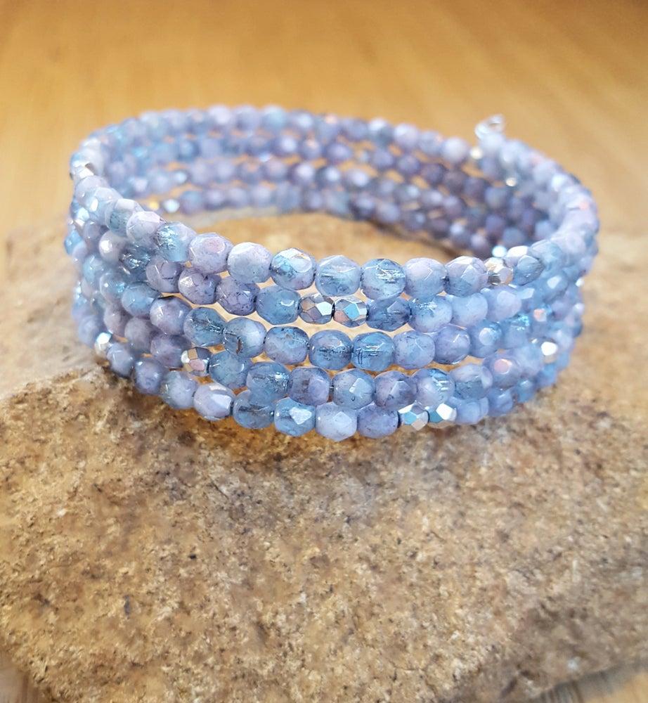Image of Light Blue Czech Stacking Wrap Bracelet