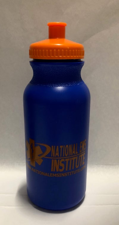 Image of NEI Blue Water Bottle with Orange Cover