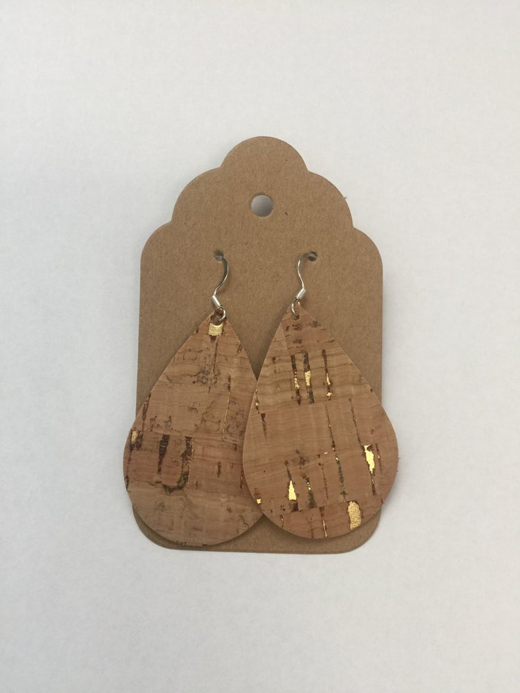 Image of Leather Earrings - Cork with gold accents