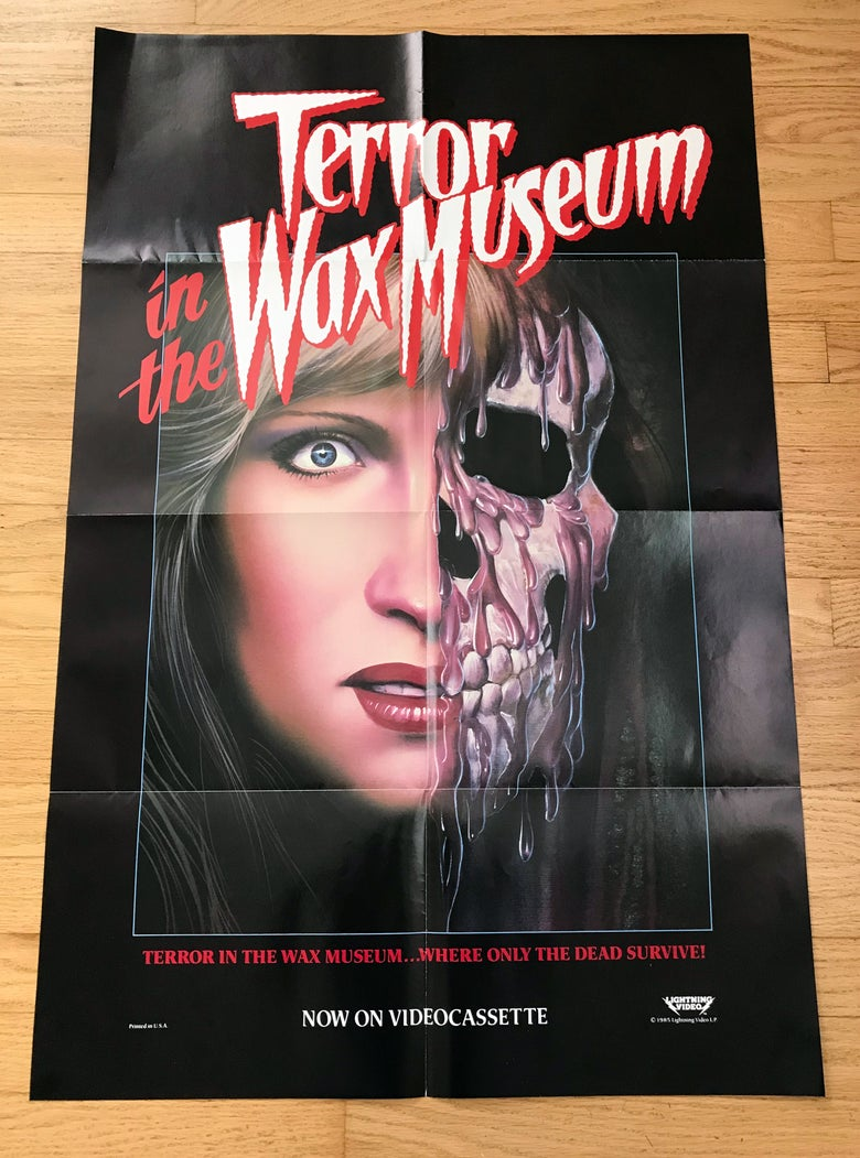 Image of 1985 TERROR IN THE WAX MUSEUM Original LIGHTNING VIDEO Promotional Movie Poster