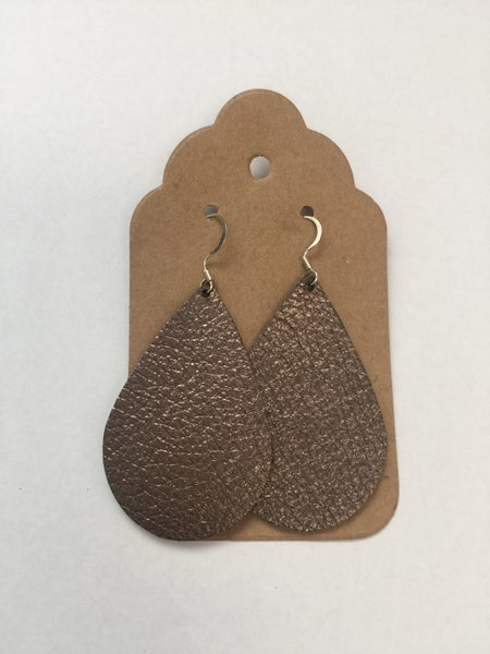 Image of Leather Earrings - Pewter