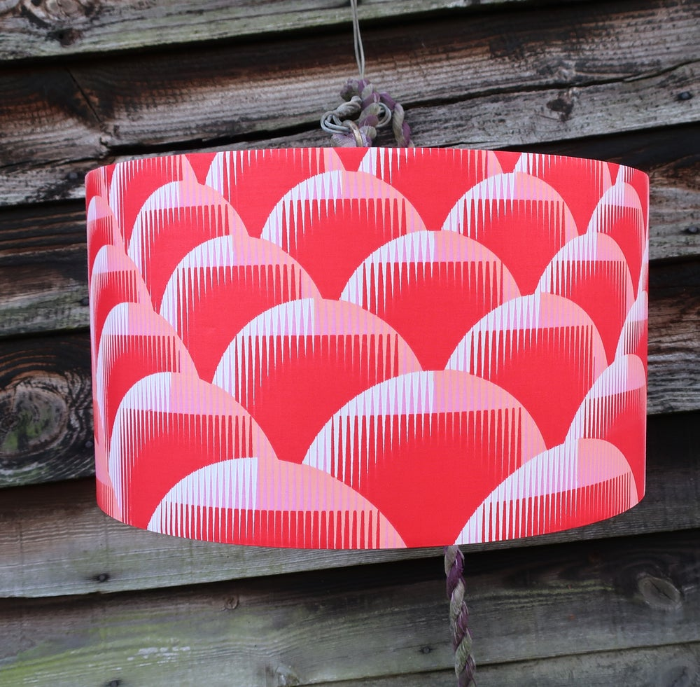 Image of Together lampshade (red, white and pink medium detail)