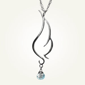 Image of Phoenix Wing Necklace with Sky Blue Topaz, Sterling Silver