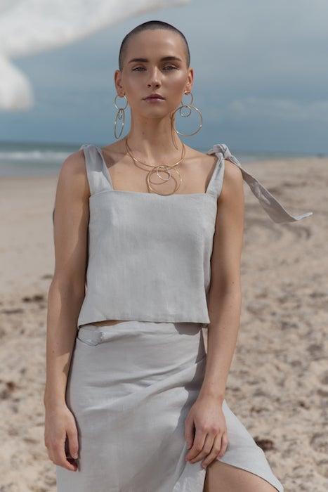 Image of Linen Backless Tie Top