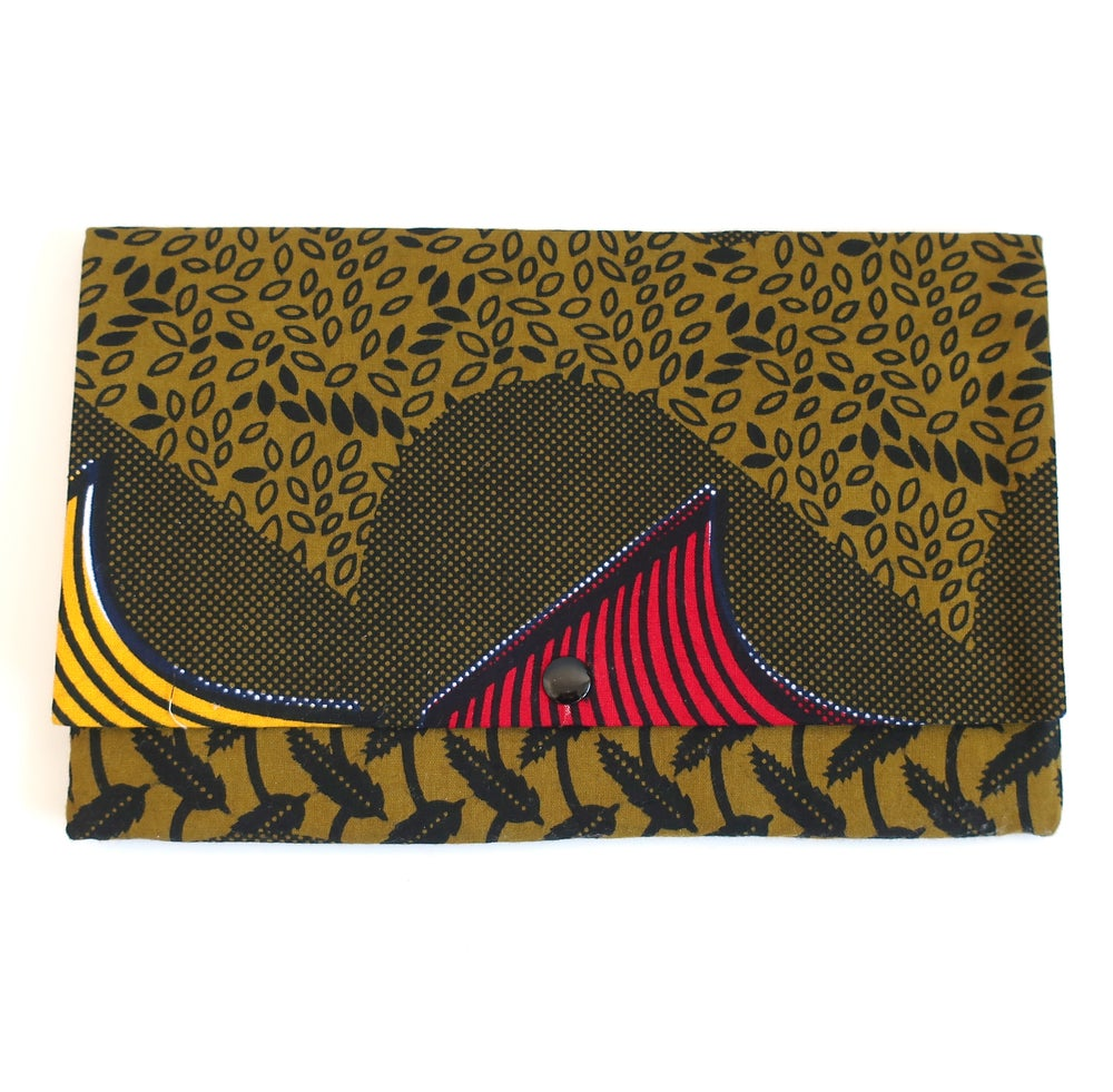 Image of Medium clutch (khaki, red and yellow)