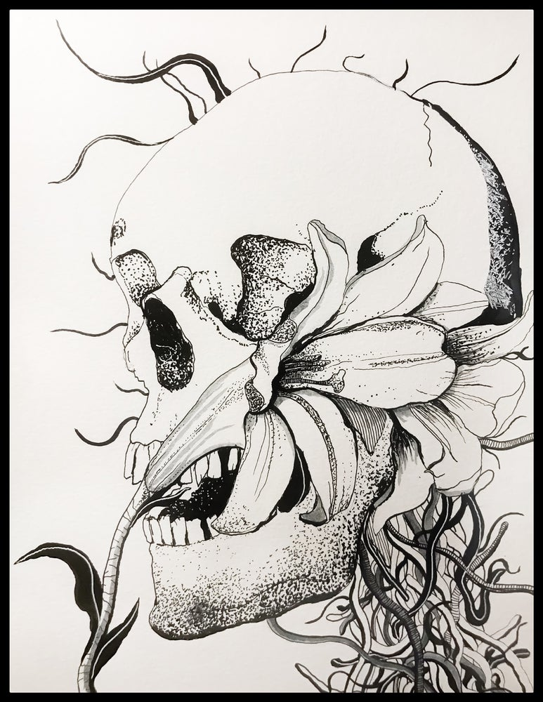 """Image of """"Another Daydreamer"""" 9""""x12"""" Original Pen & Ink Drawing"""