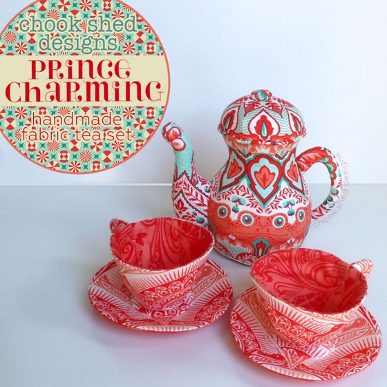Image of Tula Pink ' Prince Charming' Handmade Fabric Tea Set