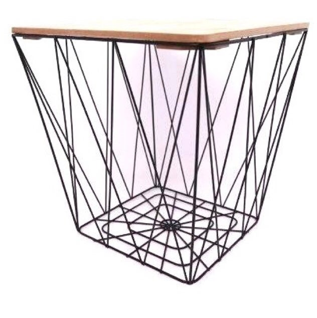 Image of Black Square Geometric Basket Table with Wooden Lid