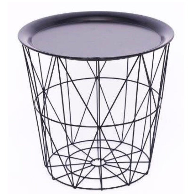 Image of Black Metal Geometric Basket Table with Metal Black Top