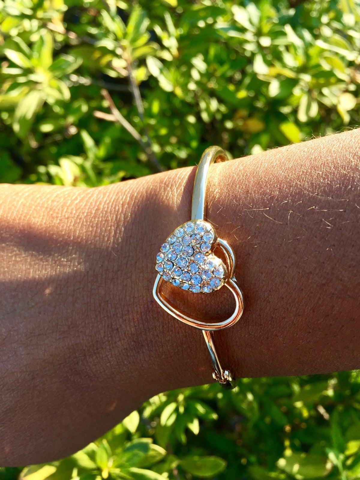 Image of Hinged Heart Bangle Bracelet