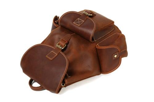 Image of Medium Size Handmade Leather Backpack College Backpack School Backpack 8891M