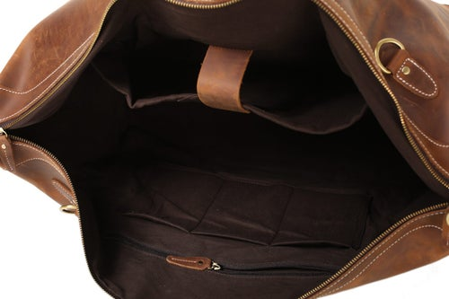 Image of Handcrafted Vintage Style Top Grain Calfskin Leather Travel Bag Duffle Bag Holdall Luggage DZ07