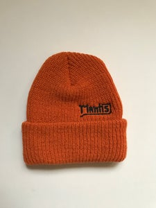 "Image of Mantis ""Salary Cap"" snowboard beanie garage logo orange"