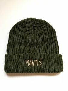 "Image of Mantis ""Logger"" snowboard beanie sketch logo forest green"