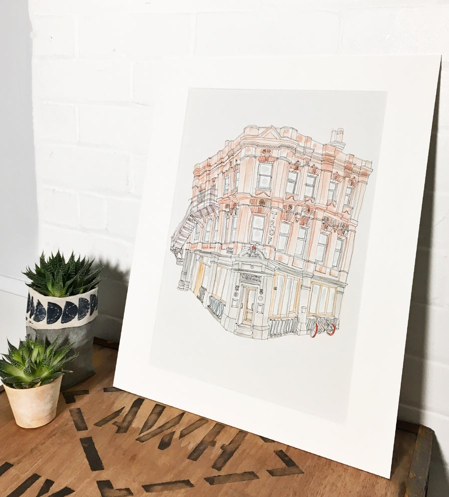 Image of Trof, Manchester- A3 limited edition individually hand painted print.
