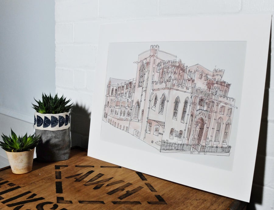 Image of John Rylands library, Manchester- A3 individually hand painted limited edition prints