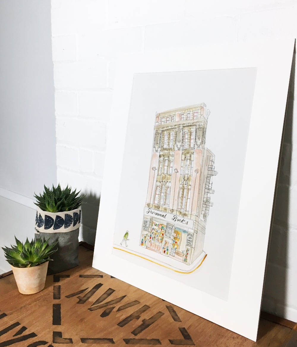 Image of Paramount Books bookshop, Manchester- A3 limited edition individually hand painted print.