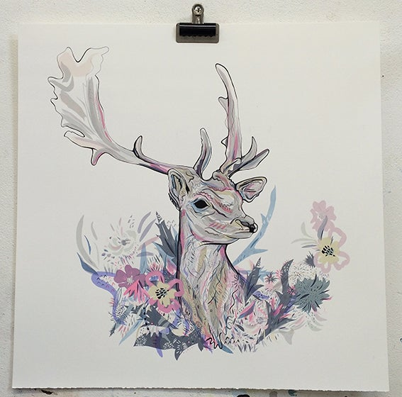 Image of Floral Fawn large screen print