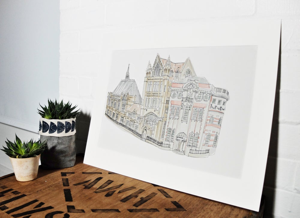 Image of Manchester University & Manchester Museum- A3 individually hand painted limited edition print.