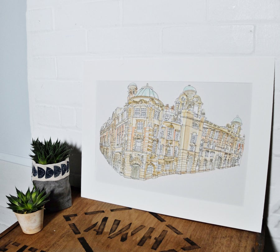 Image of London Road Fire Station- A3 limited edition individually hand painted print.
