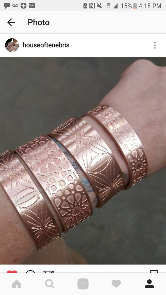 Image of Simple Etched Copper or Brass cuffs