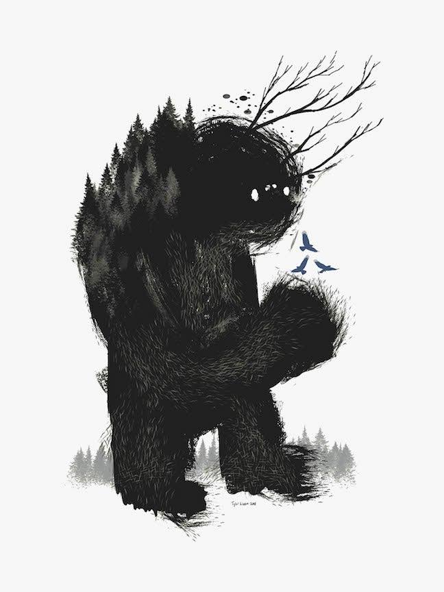"Image of ""A CURIOUS BEAST"" 18x24 Print"