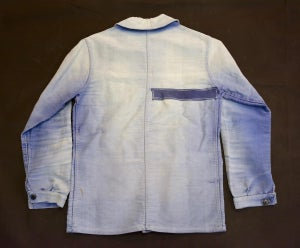 Image of 1920'S FRENCH BLUE MOLESKIN WORK JACKET FADED & PATCHED 2