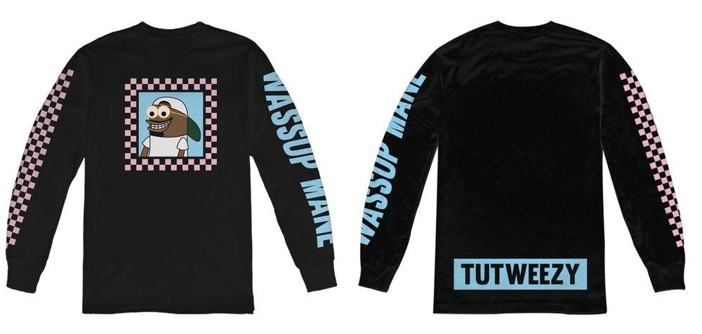 Image of Black Tutweezy Logo Checkered Long Sleeve