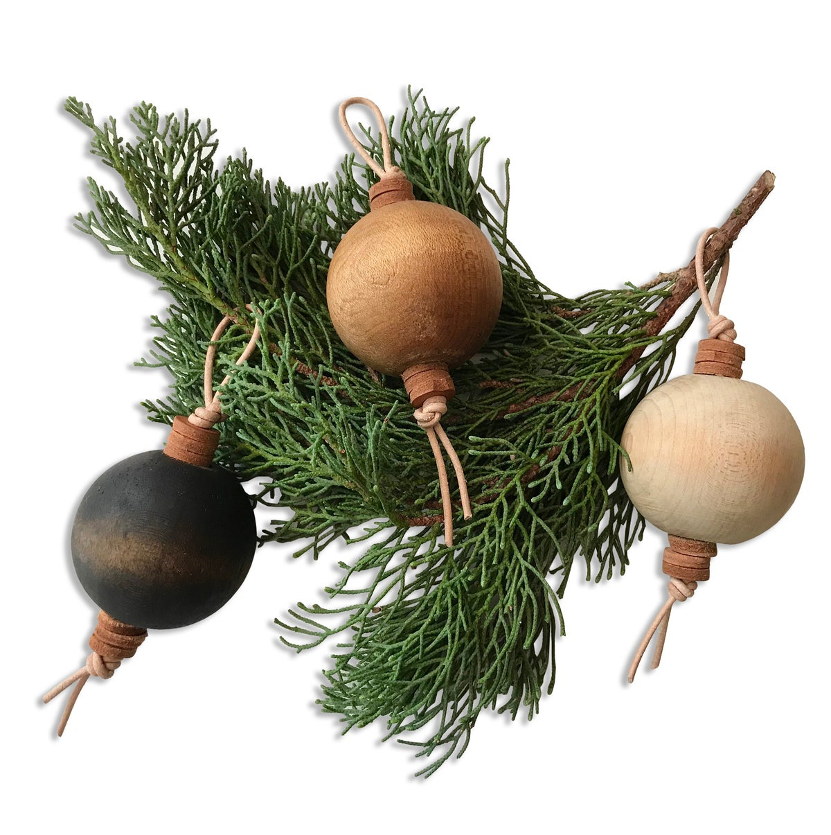 Image of VINTAGE WOODEN BALL ORNAMENTS