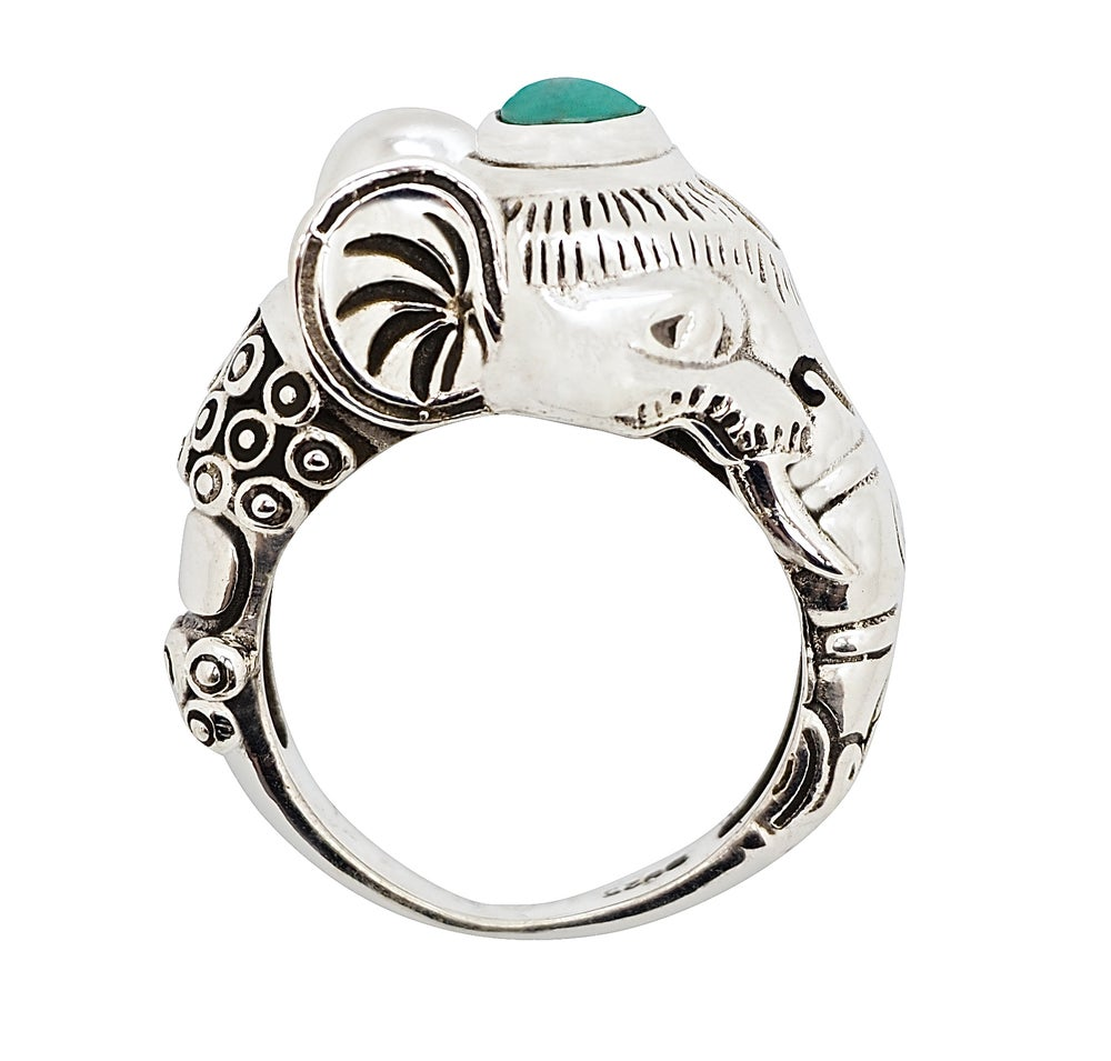 Image of Sterling Silver & Turquoise Sacred Elephant Ring