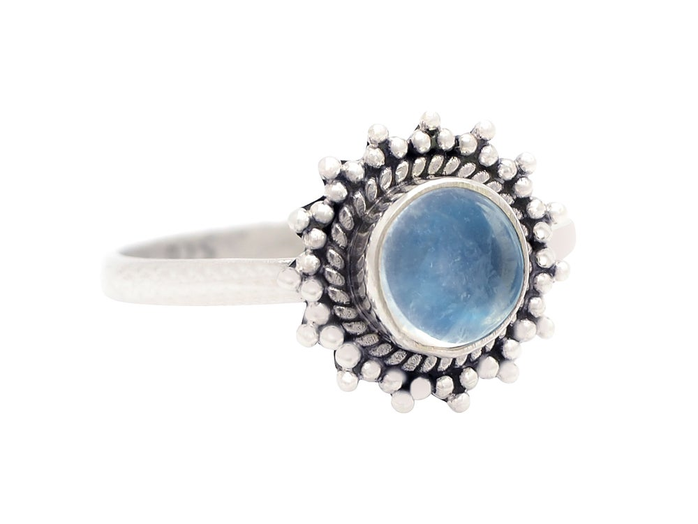 Image of Sterling Silver & Rainbow Moonstone Solstice Ring.