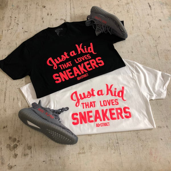 "Image of JUST A KID THAT LOVES SNEAKERS ""BOLD ORANGE"" T-SHIRT OR HOODY"