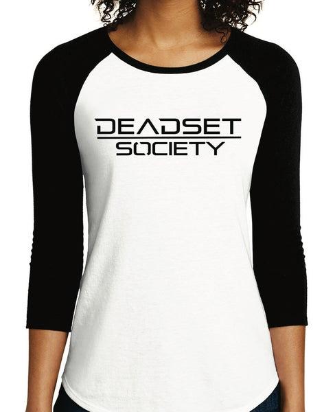 Image of <b>DEADSET SOCIETY</b><br>3/4 Sleeve Shirt (Women's)  White w/ Black Logo<br>