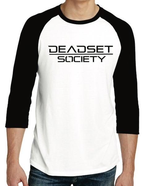 Image of <b>DEADSET SOCIETY</b><br>3/4 Sleeve Shirt (Men's)  White w/ Black Logo<br>