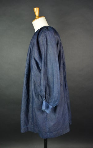 Image of 1900's FRENCH INDIGO LINEN SMOCK BIAUDE COAT WITH SILVER BUCKLE