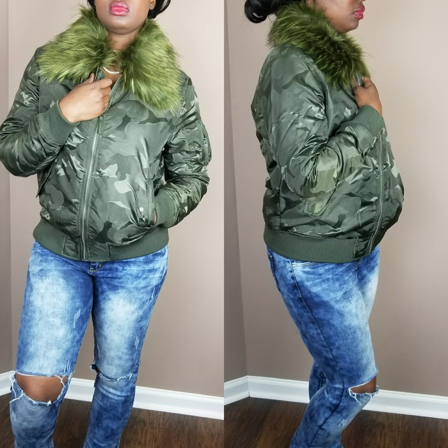Image of Faux Fur Camo Bomber