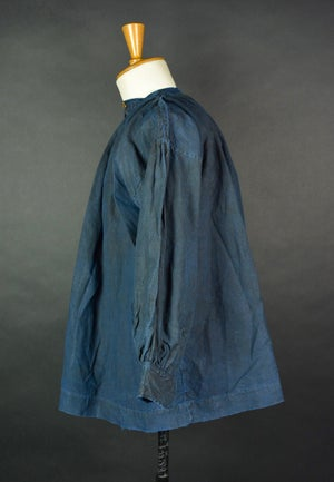 Image of 1900's FRENCH SHORT INDIGO LINEN SMOCK BIAUDE COAT MAQUIGNON